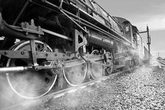 Steam Locomotive,black and white royalty free stock image