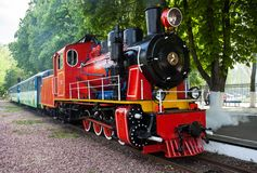 Steam locomotive blowing off the steam Stock Image