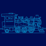 Steam locomotive on blue. Hand drawn illustration. Vector Royalty Free Stock Image