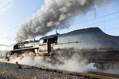 Steam locomotive 475.1 called Slechticna, Smíchov railway stati Stock Image