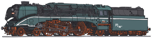 Steam locomotive. Classic steam locomotive, vector illustration, hand drawing Vector Illustration