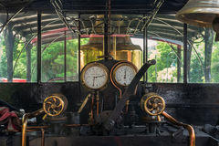 In the steam locomotive. In the cockpit of an old steam locomotive royalty free stock images
