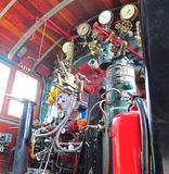 Steam locomotive control room Stock Photo