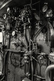 Steam locomotive controls, national technical museum in Prague,. Czech Republic. The transportation history exhibit. Black and white photo Stock Photography