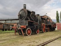 Steam train locomotive. Old steam train locomotive on a railway siding in Skierniewice, Poland Royalty Free Stock Images