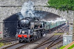 Steam Locomotive Eddystone Leaving Swanage With Full Head Of Steam Royalty Free Stock Photo
