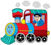 Steam locomotive with engine driver Royalty Free Stock Images