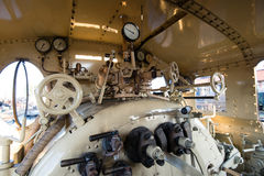 Steam locomotive engine room Stock Image