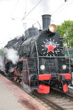 Steam locomotive, front view Stock Photo