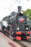 Steam locomotive, front view Stock Photo