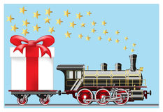 Steam locomotive with gifts Stock Photo