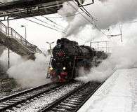 Steam Locomotive is going to move Royalty Free Stock Images