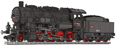 Steam locomotive. Hand drawing of old steam locomotive Stock Image