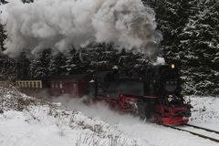 Steam Locomotive in Harz National Park Stock Image