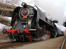 Steam locomotive. Historic steam locomotive in Prague Stock Photo