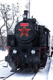 Steam locomotive. Historic steam locomotive on a winter drive Stock Images