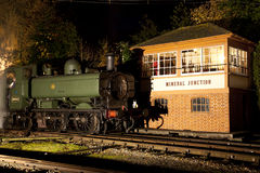 Steam Locomotive illuminated at night Royalty Free Stock Photo