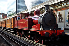 Steam Locomotive. London, Hammersmith - August 11, 2014 : London Transport Museum celebrates 150 years of the Hammersmith & City Line with Heritage vehicle Royalty Free Stock Photography