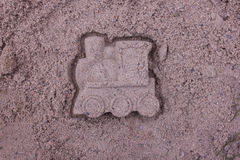 Steam locomotive made of sand Royalty Free Stock Photos