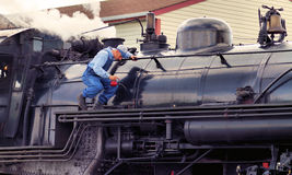 Steam locomotive Maintenance Royalty Free Stock Images