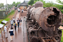 Steam locomotive monument. Steam locomotive at Jangdan station on Gyeongui line. Symbol of the partition of the Korean peninsula for which it has been left in Stock Photos