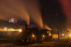 Steam locomotive. The steam locomotive night is very beautiful Stock Photos