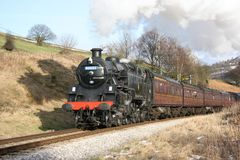 Steam locomotive 80002 at Oakworth Bank on the Keighley and Wort. H Valley Railway, West Yorkshire, UK - February 2009 Royalty Free Stock Image