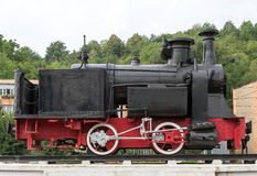 Steam locomotive. Old time steam train vintage locomotive displayed in the locomotives museum located in Resita, Romania royalty free stock photo