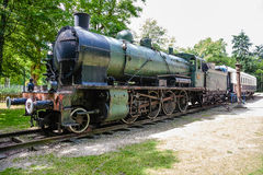 Steam locomotive and Pullman rail wagon Royalty Free Stock Photos