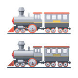 Steam locomotive on the railroad. Vector flat illustration Stock Images
