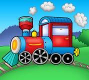 Steam locomotive on rails vector illustration
