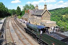 Steam locomotive at railway station, Highley. Royalty Free Stock Image