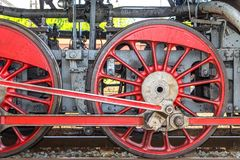 Steam locomotive wheels. Stock Photo