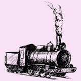Steam locomotive. Retro steam locomotive doodle style sketch illustration hand drawn vector Royalty Free Stock Photography