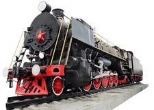 Steam locomotive, retro monument. The symbol of the revolution. Steam locomotive, retro historic monument Stock Photo