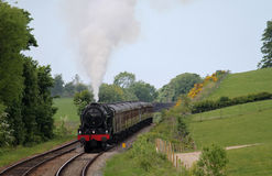 Steam locomotive Scots Guardsman near Borwick. Royalty Free Stock Photos