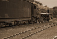 Steam locomotive in sepia Royalty Free Stock Photos
