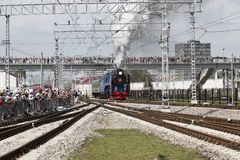 Steam locomotive series P36 0027 in action at the festival of Railway troops of the Russian Federation, Moscow region,. Russia stock photos