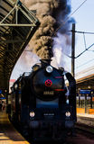Steam locomotive at the station Royalty Free Stock Photo