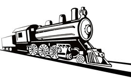 Steam locomotive stencil style Stock Image