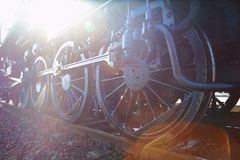 Steam Locomotive Sun Flare Stock Photo