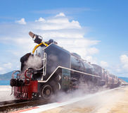 Steam locomotive trains in railways station platform preparing t Royalty Free Stock Images