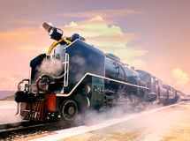 Steam locomotive trains in railways station platform preparing t Royalty Free Stock Photography
