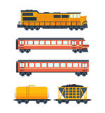 Steam locomotive with various wagons. Wagons with passengers, freight, cisterns. Royalty Free Stock Photos
