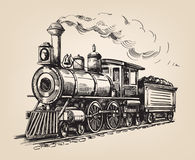 Steam locomotive vector. Steam locomotive transport. Hand drawn vector illustration royalty free illustration