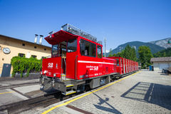 Steam locomotive of a vintage cogwheel railway going to Schafber Royalty Free Stock Photography