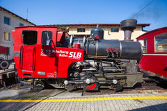 Steam locomotive of a vintage cogwheel railway going to Schafber Stock Image