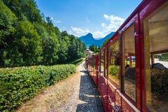Steam locomotive of a vintage cogwheel railway going to Schafber Stock Photography