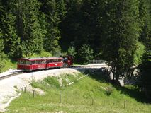 Steam locomotive of a vintage cogwheel railway going to Schafber, Wolfgangsee Stock Images