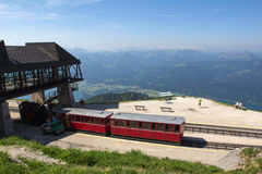 Steam locomotive of a vintage cogwheel railway going to Schafberg, Wolfgangsee Stock Image